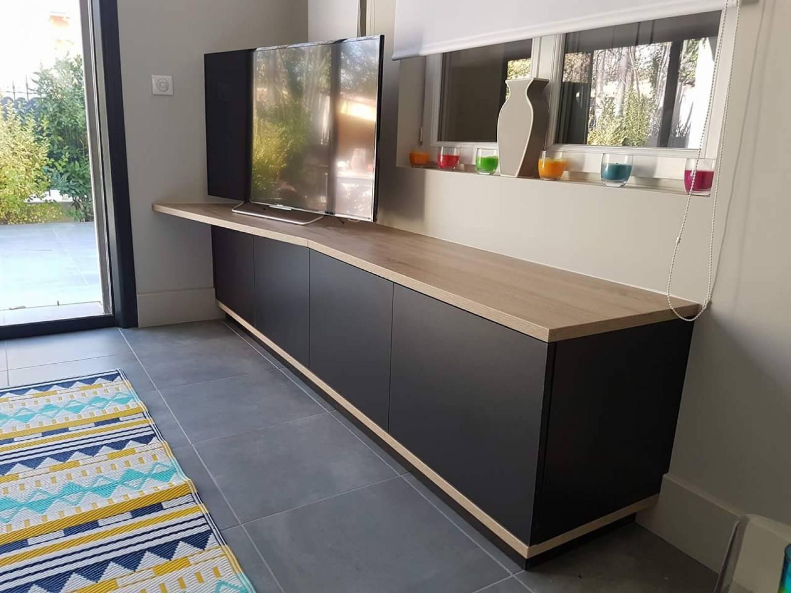 Tv Escamotable Dans Meuble meuble tv sur mesure - spécialiste de l'aménagement